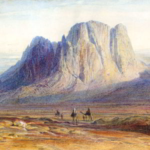Camels and mountains by Edward Lear