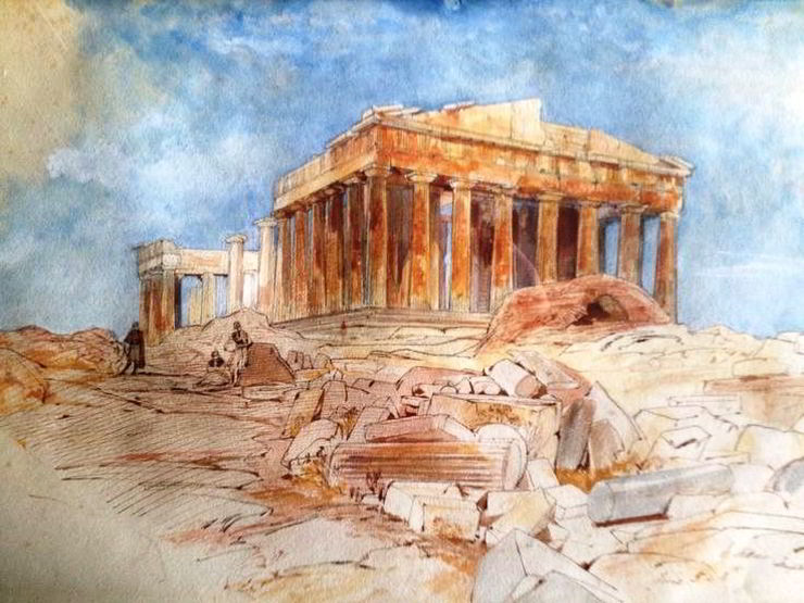 Temple of Minerva by Edward Lear
